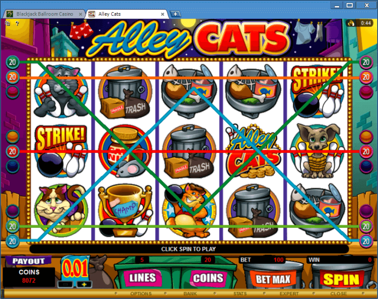 Alley Cats bonus slot machine BlackJack Ballroom