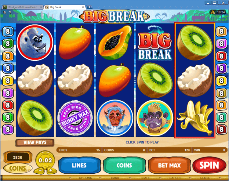 Big Break bonus slot BlackJack Ballroom online
