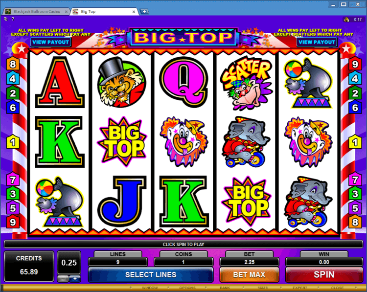 Big Top regular video slot BlackJack Ballroom