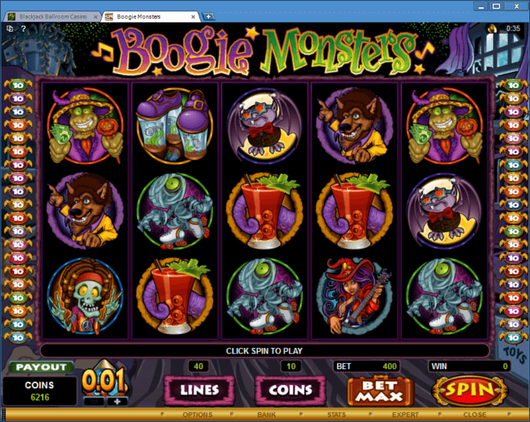 Boogie Monsters bonus slot game BlackJack Ballroom application