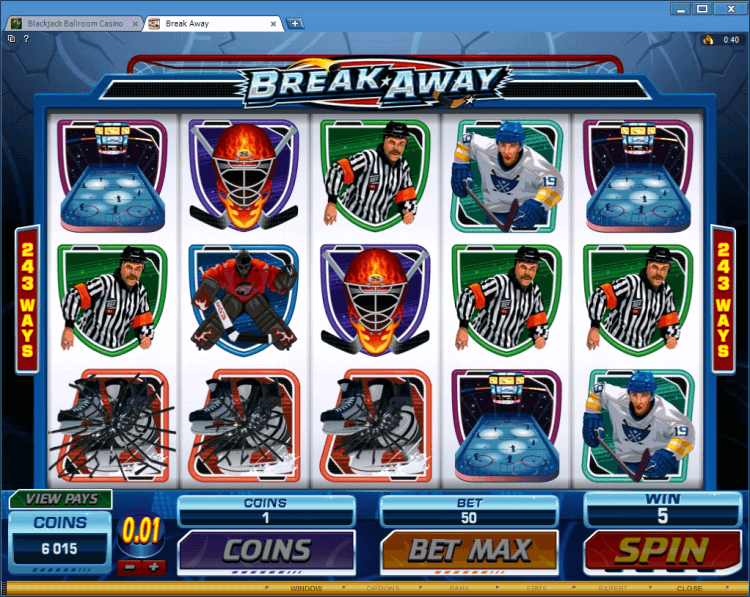 Break Away bonus slot online casino Black Jack Ballroom