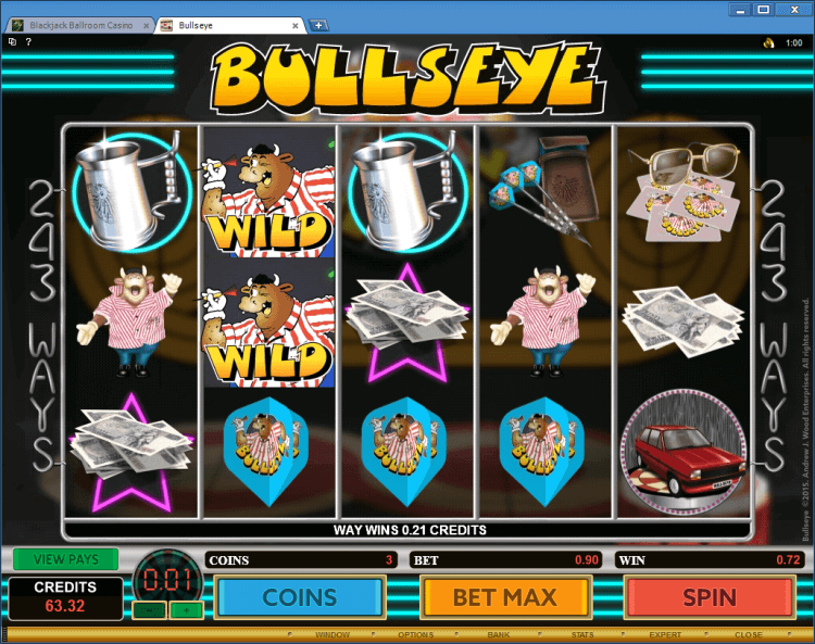Bullseye bonus slot game Ballroom casino online BlackJack