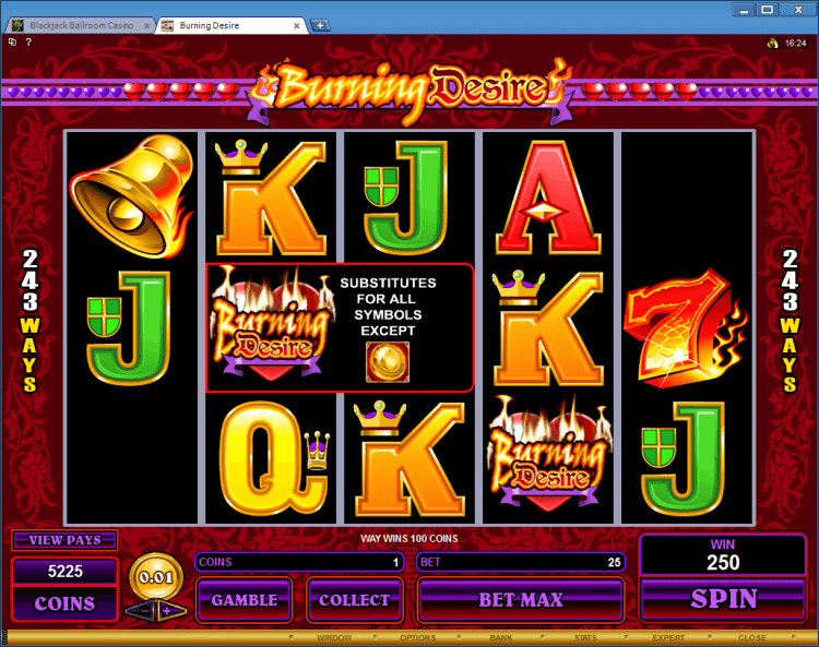 Burning Desire BlackJack Ballroom online casino regular video slot