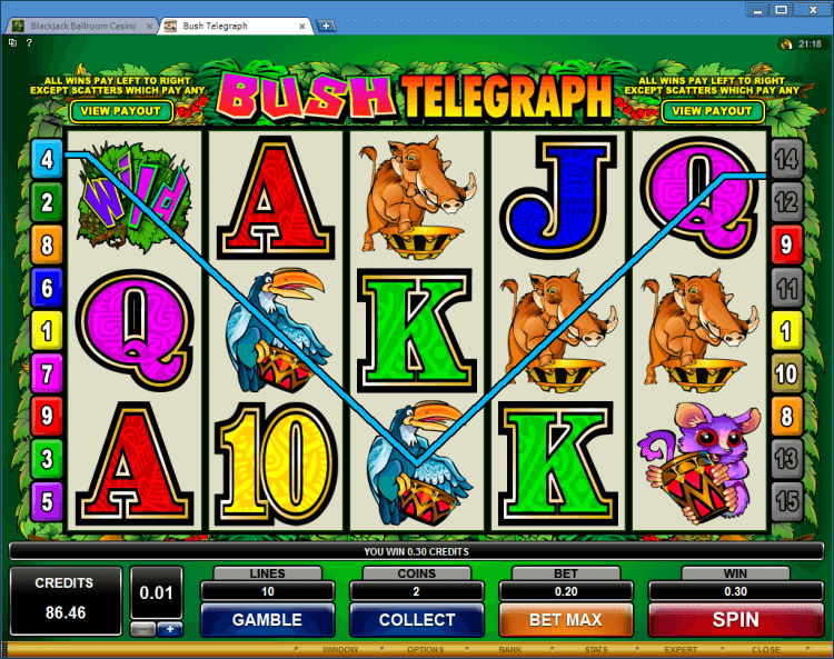 Bush Telegraph bonus slot game BlackJack Ballroom online casino