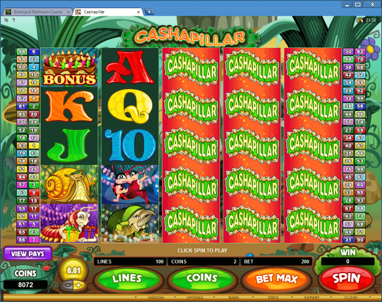Cashapillar regular video slot BlackJack Ballroom casino online