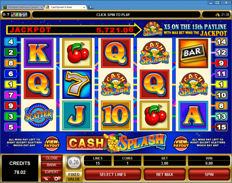 CashSplash progressive slot BlackJack Ballroom casino app