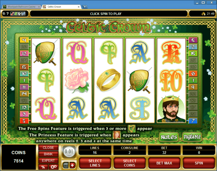 Celtic Crown bonus slot Ballroom BlackJack casino online