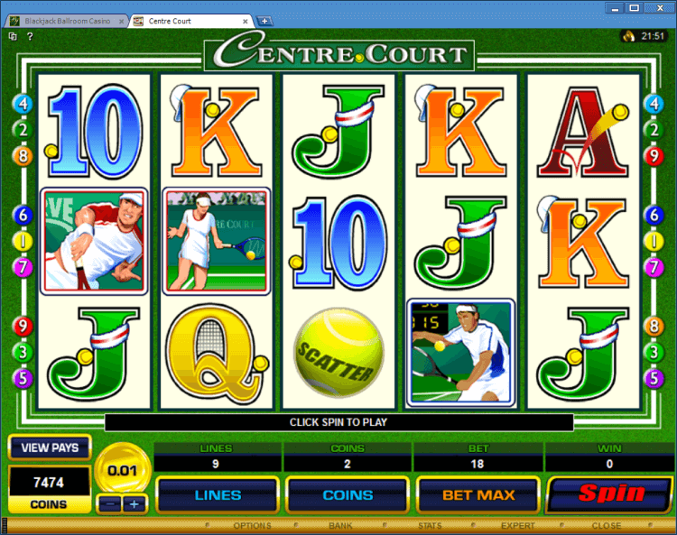 Centre Court regularvideo slot at BlackJack Ballroom online casino
