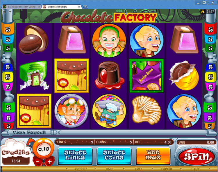 Chocolate Factory bonus slot Ballroom Black Jack application