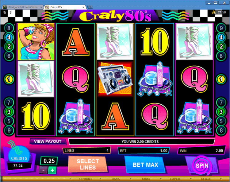 Crazy 80-s regular video slot BlackJack Ballroom online casino