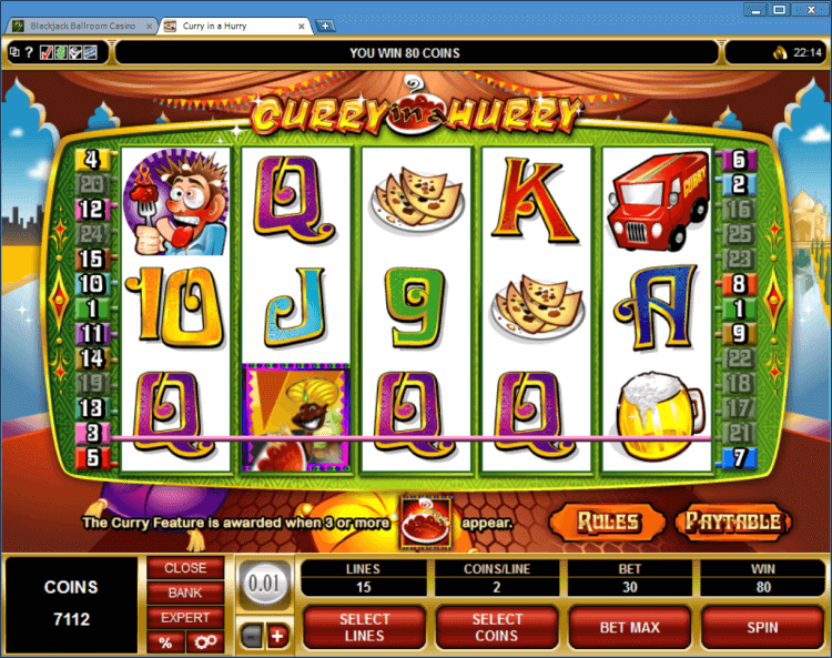 Curry in a Hurry bonus slot BlackJack Ballroom online casino