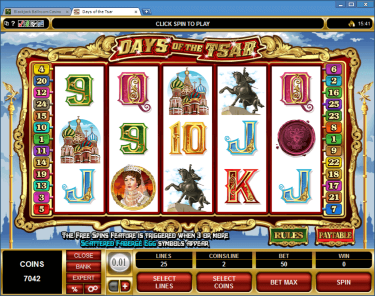 Days of the Tsar regular video slot BlackJack Ballroom online casino