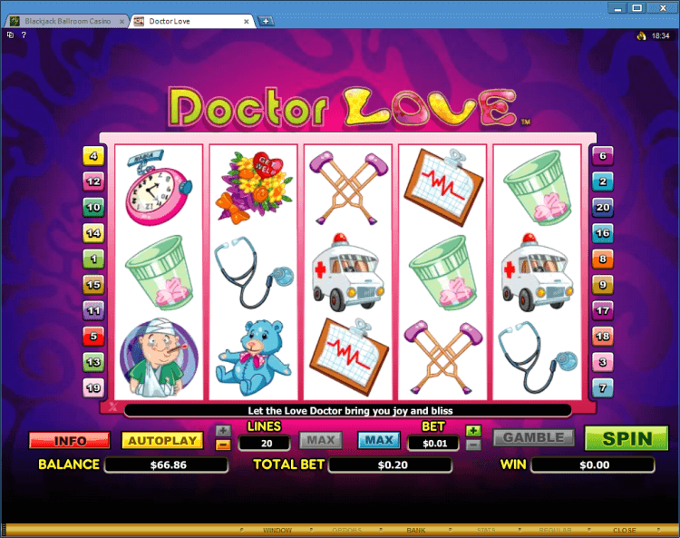 Doctor Love bonus slot BlackJack Ballroom online casino