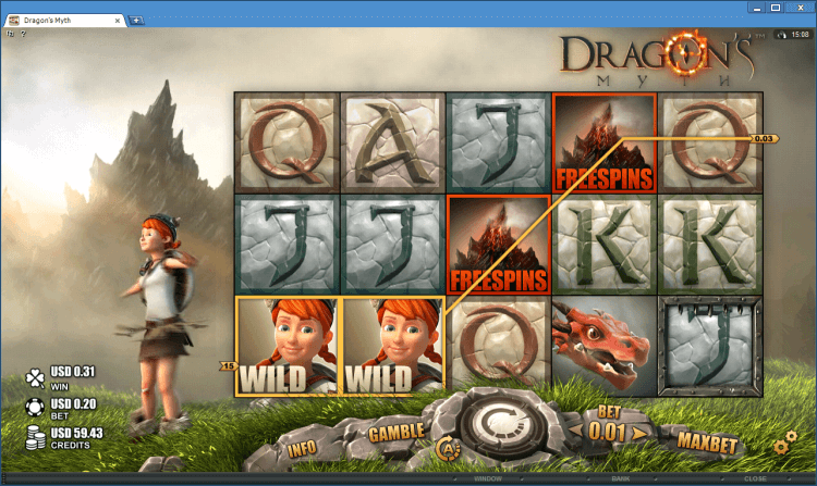 Dragon's Myth bonus slot at online casino application BlackJack Ballroom