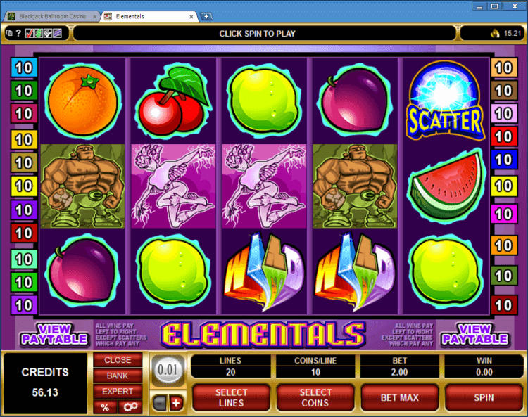 Elementals regular video slot BlackJack Ballroom online casino application