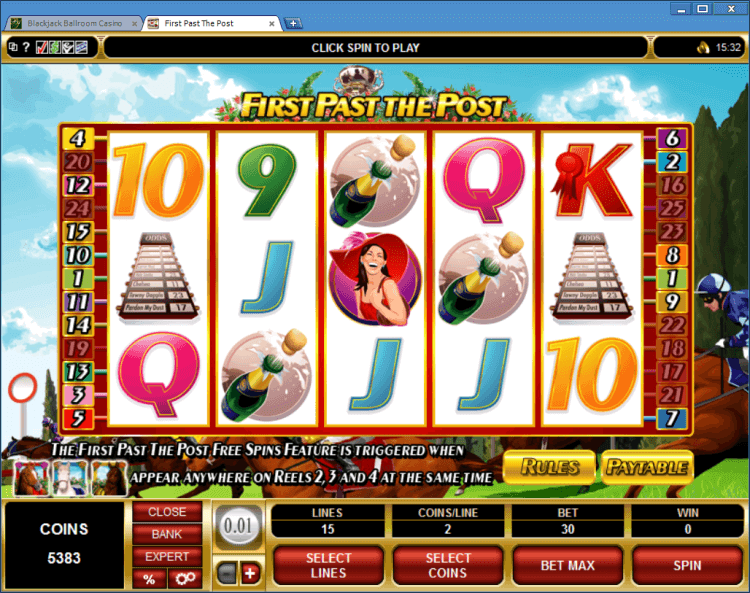 First Past the Post bonus slot BlackJack Ballroom online casino