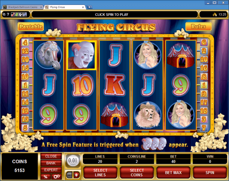 Flying Circus regular video slot BlackJack Ballroom online casino