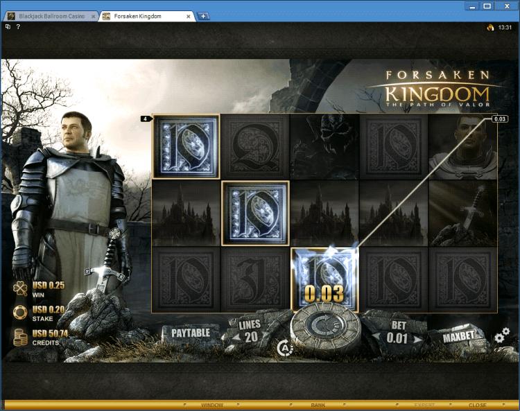 Forsaken Kingdom bonus slot BlackJack Ballroom online casino