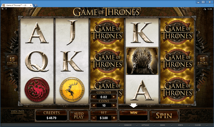 Game of Thrones 15 lines bonus slot BlackJack Ballroom online casino
