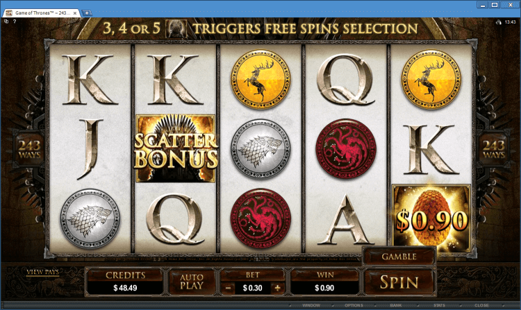 Game of Thrones 243 Ways bonus slot at the online casino application BlackJack Ballroom
