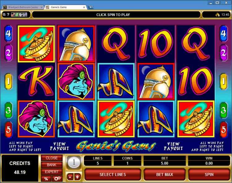 Genie's Gems regular video slot BlackJack Ballroom online casino application