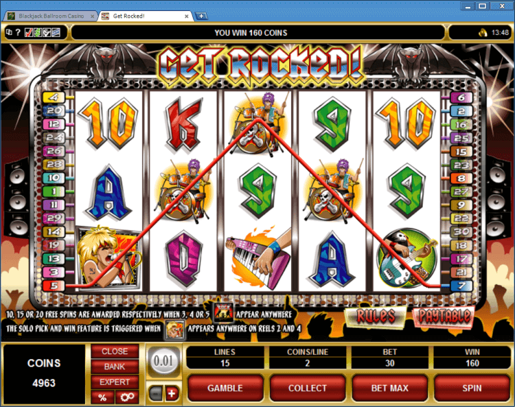 Get Rocked! bonus slot machine BlackJack Ballroom online casino