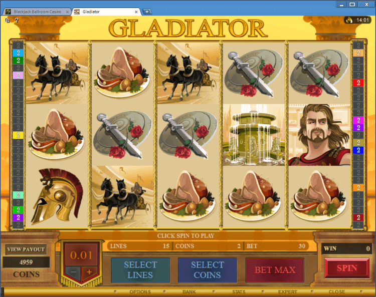 Gladiator regular video slot Ballroom BlackJack online casino application