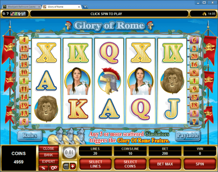 Glory of Rome bonus slot BlackJack Ballroom online casino application