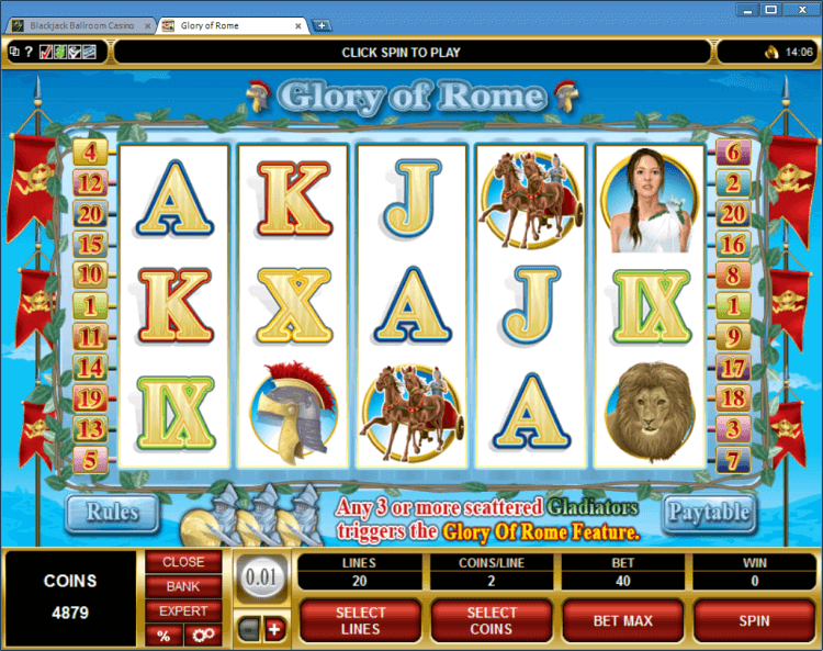 Glory of Rome bonus slot BlackJack Ballroom online casino application