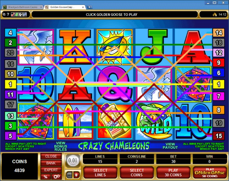 Golden Goose Crazy Chameleons slot in online casino application BlackJack Ballroom