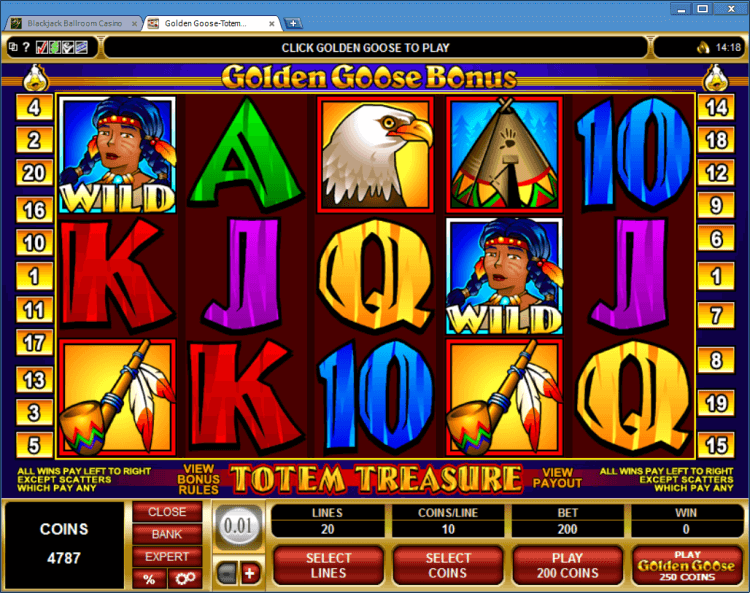 Golden Goose Totem Treasure bonus slot online casino BlackJack Ballroom