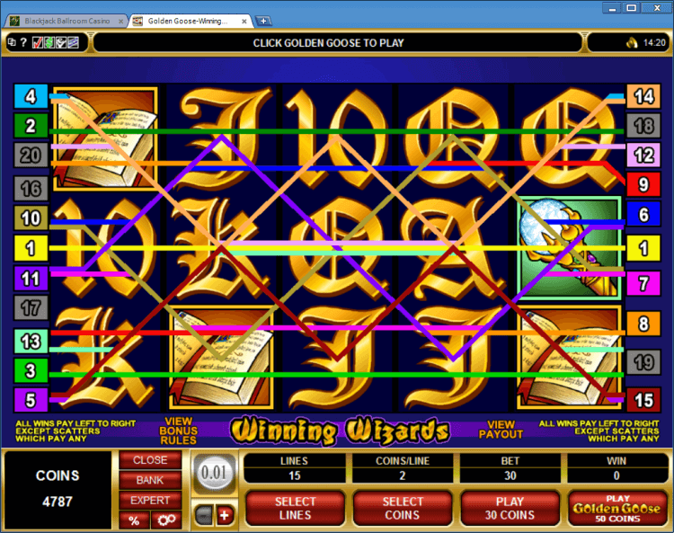 Golden Goose Winning Wizards bonus slot BlackJack Ballroom online casino