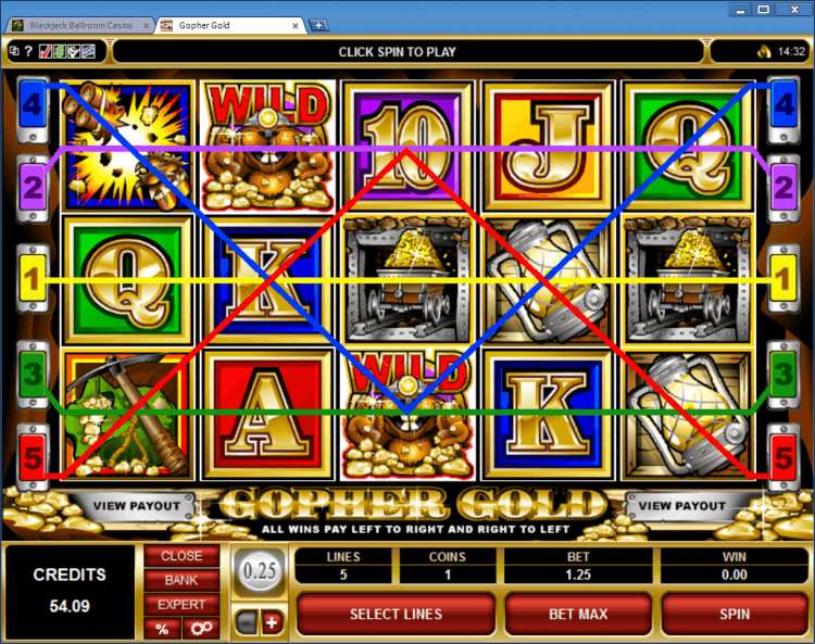 Gopher Gold regular video slot BlackJack Ballroom online casino