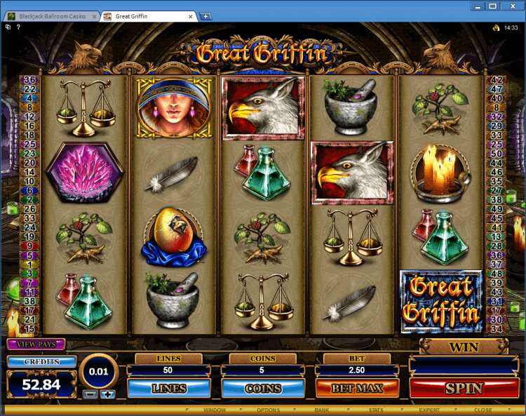Gopher Gold regular video slot BlackJack Ballroom online casino.