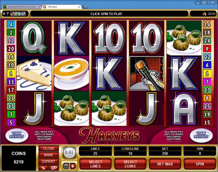 Harveys regular video slot BlackJack Ballroom online casino