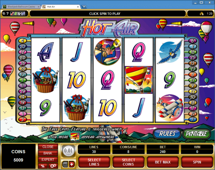 Hot Air regular video slot BlackJack Ballroom online casino