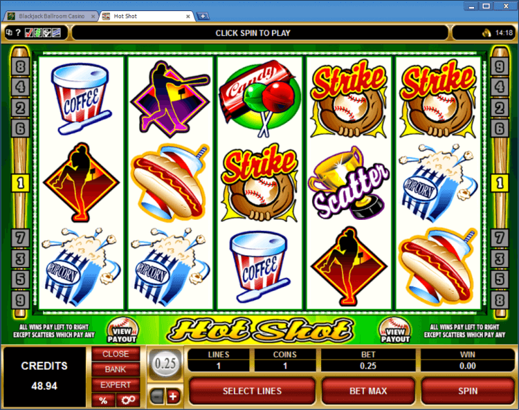 Hot Shot regular video slot BlackJack Balroom online casino