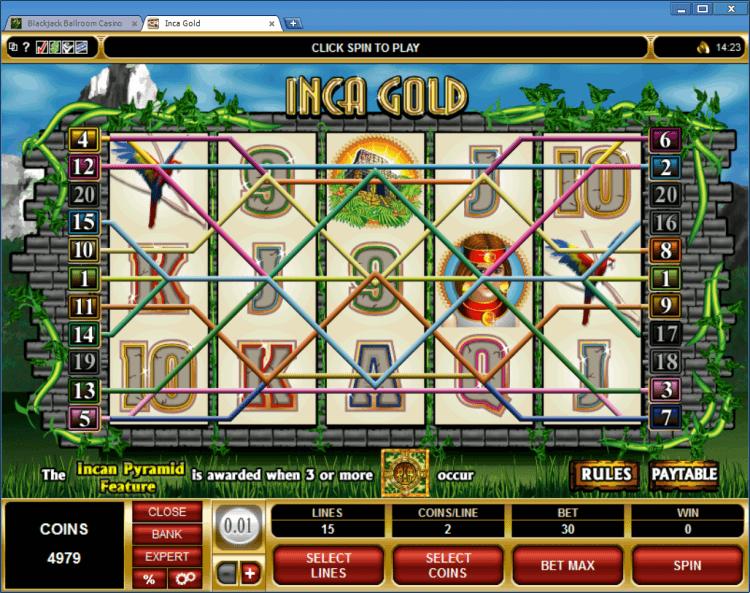 Inca Gold bonus slot BlackJack Ballroom online casino