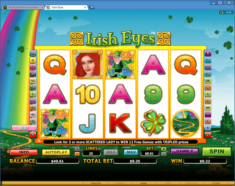 Irish Eyes bonus slot BlackJack Ballroom online casino app