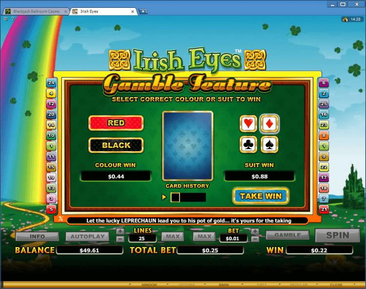 Irish Eyes bonus slot BlackJack Ballroom online casino app