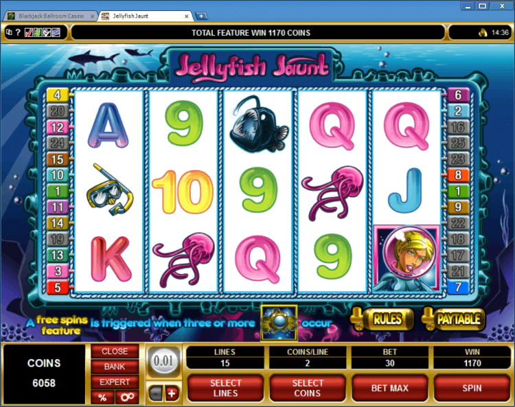 Jellyfish Jaunt regular video slot BlackJack Ballroom online casino app