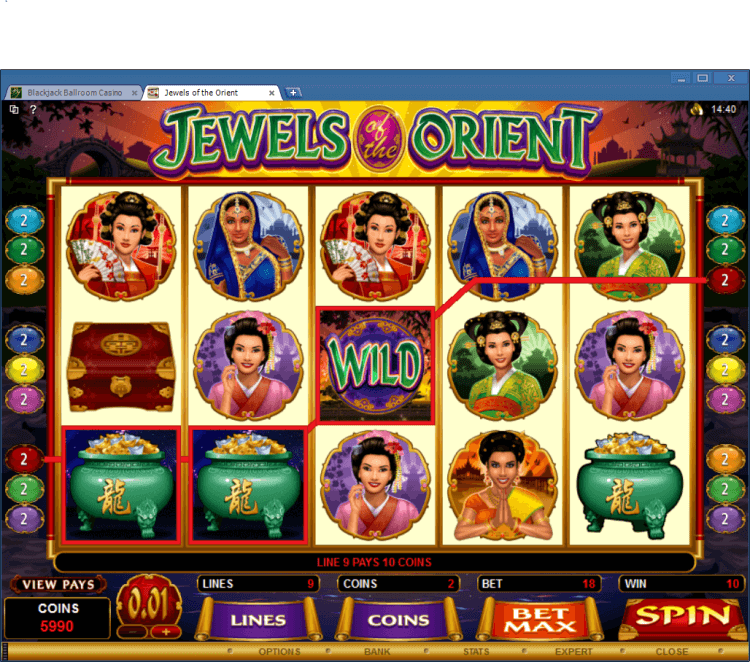 Jewels of the Orient bonus slot BlackJack Ballroom online casino