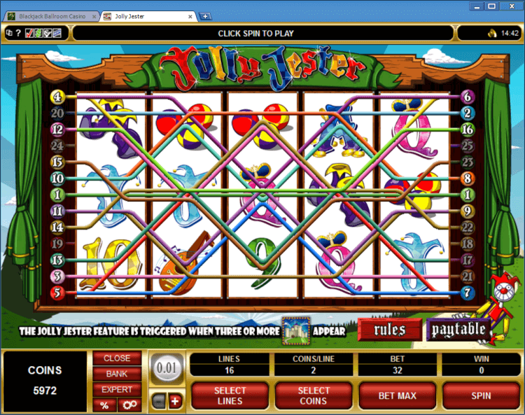 Jolly Jester bonus slot BlackJack Ballroom online casino