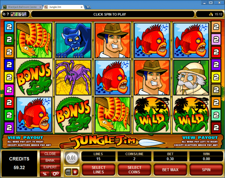 Jungle Jim bonus slot BlackJack Ballroom online casino application