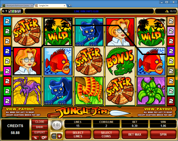 Jungle Jim bonus slot BlackJack Ballroom online casino application