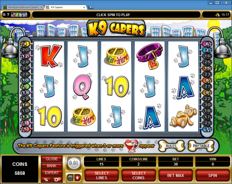 K9 Capers bonus slot BlackJack Ballroom online casino applicaion