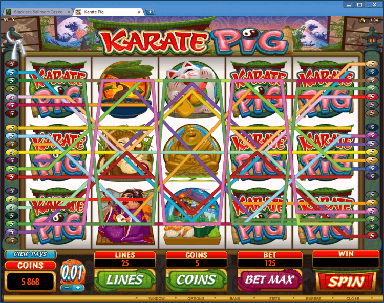 Karate Pig bonus slot casino online gambling BlackJack Ballroom win