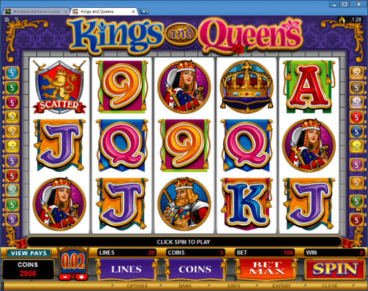 Kings and Queens regular video slot BlackJack Ballroom online casino application