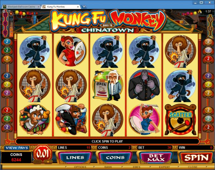 Kung Fu Monkey bonus slot BlackJack Ballroom gambling online