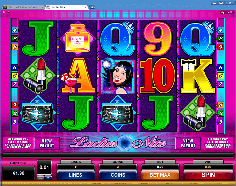 Ladies Nite regular video slot BlackJack Ballroom online casino application